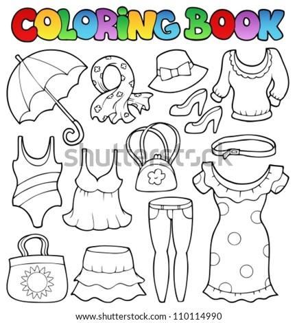 Coloring book clothes theme 2 - vector illustration. - stock vector