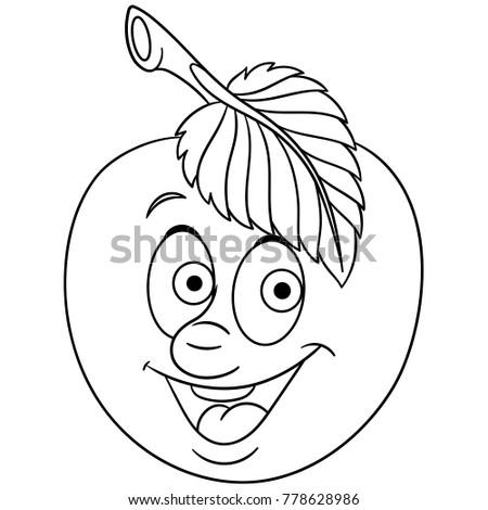 Coloring Book Page Cartoon Apple Happy Fruit Emoticon Smiley Emoji