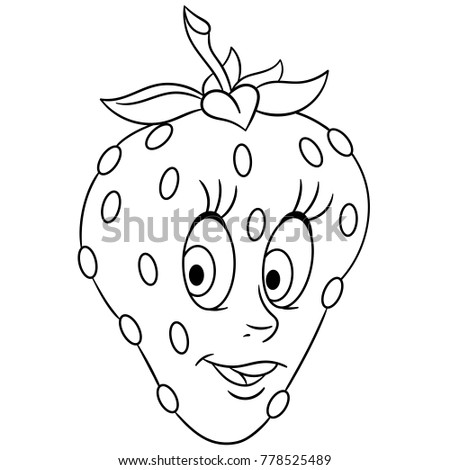coloring book coloring page cartoon strawberry stock vector