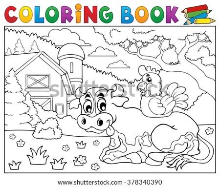 Coloring book cow near farm theme 3 - eps10 vector illustration. - stock vector
