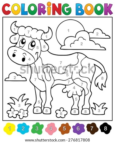 Coloring book cow theme 2 - eps10 vector illustration. - stock vector