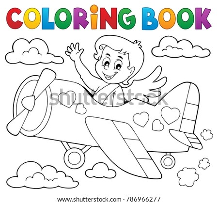 Coloring book Cupid topic 5 - eps10 vector illustration.