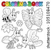 Coloring book cute bugs 2 - vector illustration. - stock vector
