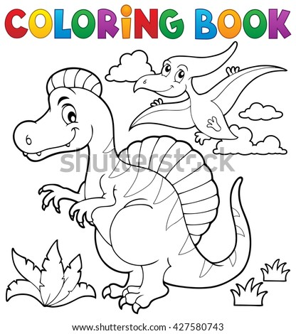 Coloring book dinosaur theme 2 - eps10 vector illustration.