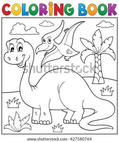 Coloring book dinosaur theme 3 - eps10 vector illustration.