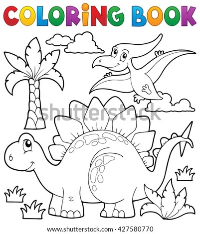 Coloring book dinosaur theme 1 - eps10 vector illustration. - stock vector