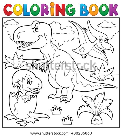 Coloring book dinosaur topic 9 - eps10 vector illustration. - stock vector