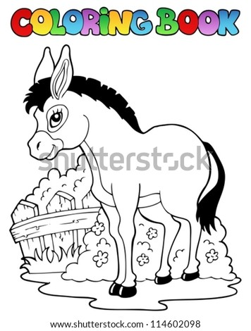 Coloring book donkey theme 1 - vector illustration. - stock vector