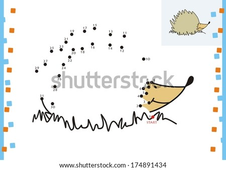 Coloring book dot to dot. The hedgehog - stock vector