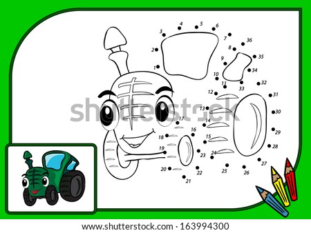 Coloring book dot to dot. Vector illustration of funny tractor