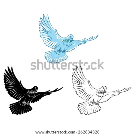Coloring book Dove cartoon character - stock vector