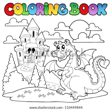 Coloring book dragon theme image 1 - vector illustration. - stock vector