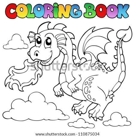 Coloring book dragon theme image 3 - vector illustration. - stock vector