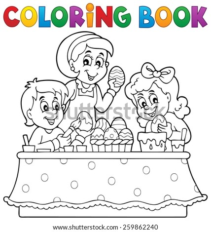 Coloring book Easter topic image 1 - eps10 vector illustration. - stock vector