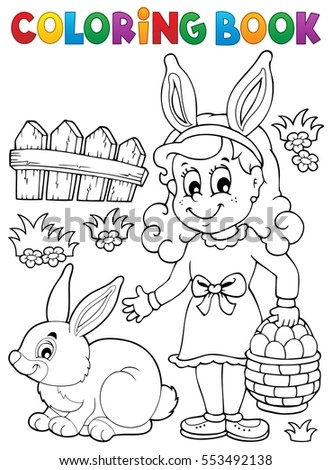 Coloring book Easter topic image 2 - eps10 vector illustration.