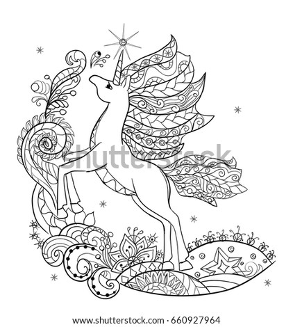 Coloring Book Fabulous White Unicorn Childrens Illustration For The Fairy TaleFabulous