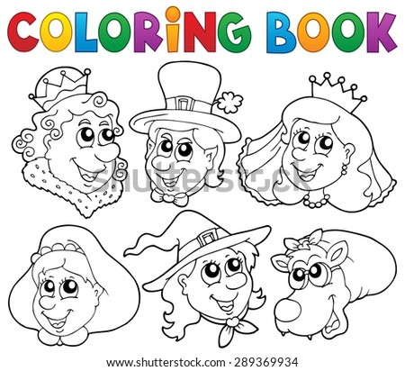 Coloring book fairy tale portraits - eps10 vector illustration. - stock vector