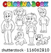 Coloring book family collection 1 - vector illustration. - stock vector