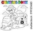 Coloring book farm theme 3 - vector illustration. - stock vector