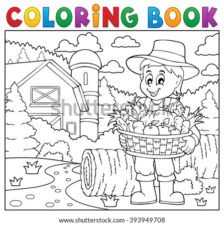 Coloring book farmer with harvest 2 - eps10 vector illustration.