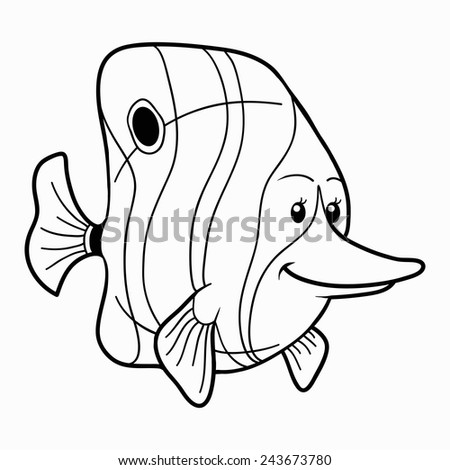 Fish Arabian Angel Black Contour On Stock Vector 563956819