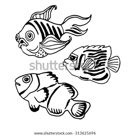 Coloring Book Fish Hand Drawn Vector Stock Vector (Royalty Free ...