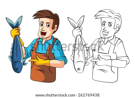Coloring book Fish sellers cartoon character - stock vector