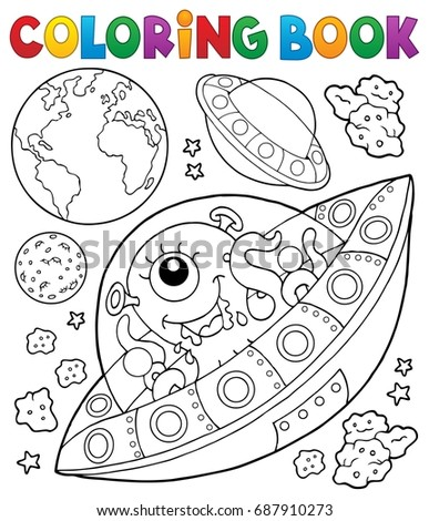 Coloring book flying saucers near Earth - eps10 vector illustration.