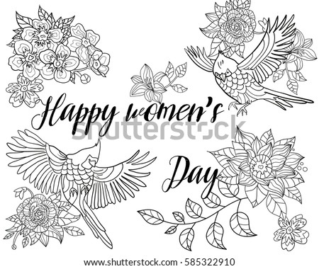Coloring Book For Adult A Bird Womens Day Flowers March 8