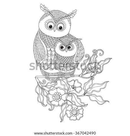 Coloring Book For Adult And Older Children Page With Cute Owl Flowers