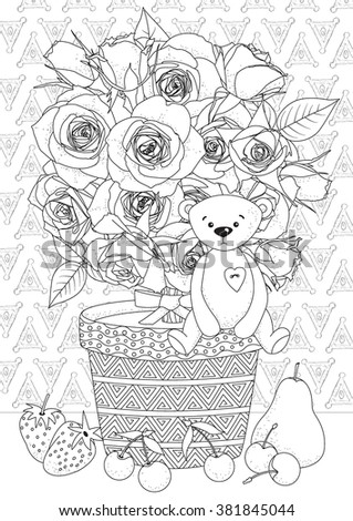 Coloring Book For Adult And Older Children Page With Flowers Fruits Teddy