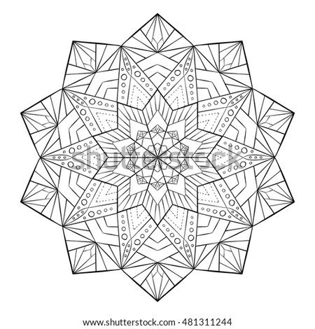 Coloring book for adults and children. Round floral mandala element. Anti stress and relaxation. Look my portfolio for more