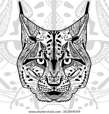Coloring Book Adults Black White Bobcat Stock Vector 363844049 ...