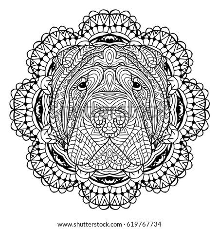 Zentangle Ornate Lion Tattoo Sketch Vector Stock Vector