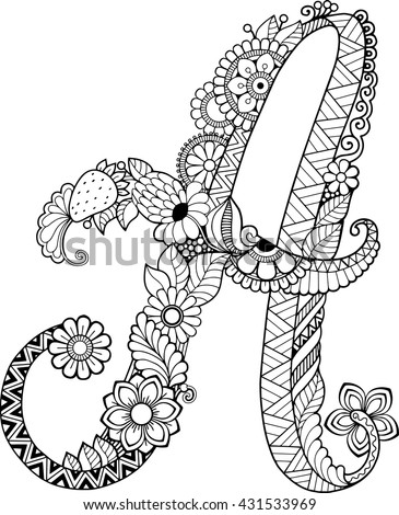 Coloring Book Adults Floral Doodle Letter Stock Vector 431533969