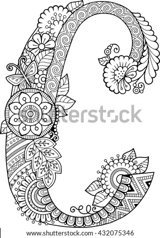 Coloring Book Adults Floral Doodle Letter Stock Vector