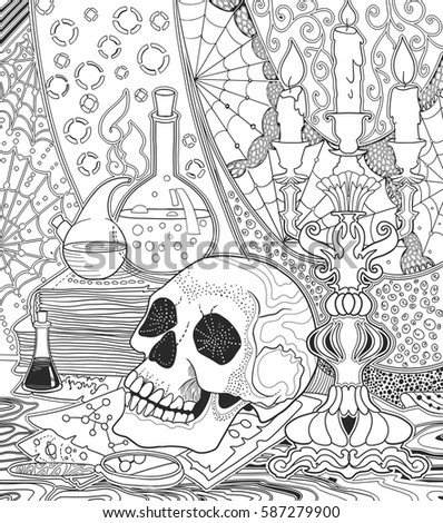 Coloring Book For Adults With Alchemical Still Life Skull Old Maps And Books