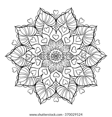 Coloring book for adults with love hearts. Round mandala element. Anti stress and relaxation