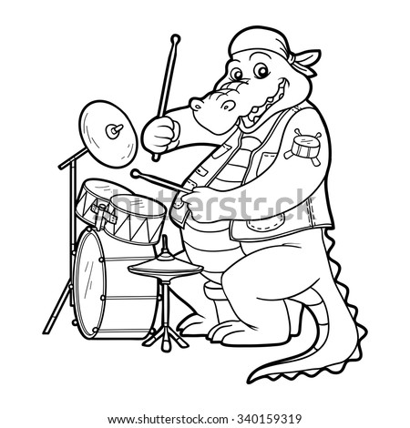 coloring book for children animals band crocodile and drum set