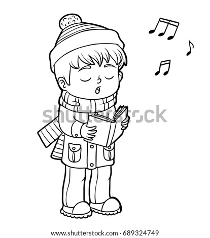 Coloring Book Children Boy Singing Christmas Stock Vector 689324749 ...