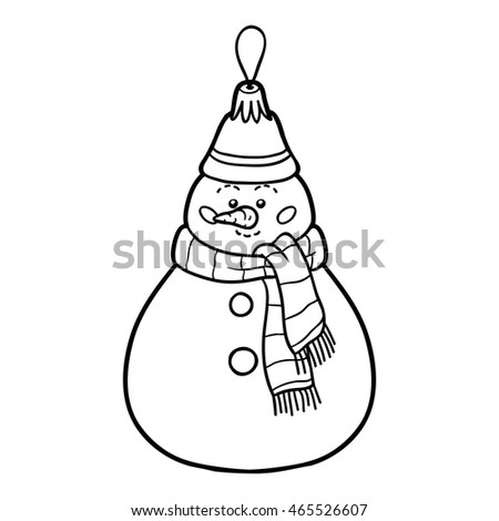 Coloring book for children, Christmas decorations, snowman