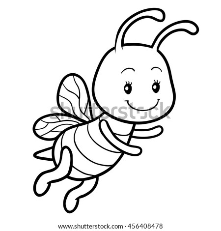 Coloring Book For Children Page With A Small Bee