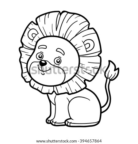 Coloring Book For Children Page With Cute Lion