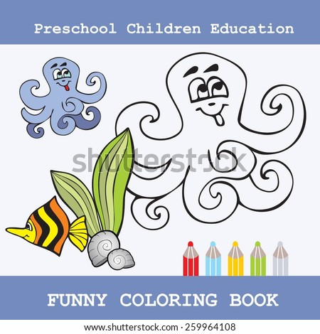 Coloring Book for children education - stock vector