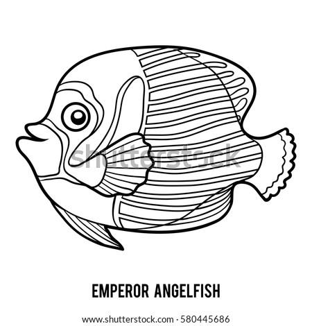 Coloring Book For Children Emperor Angelfish