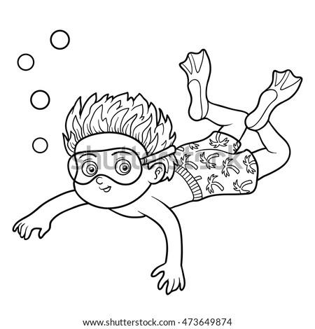Swim Cartoon Black And White