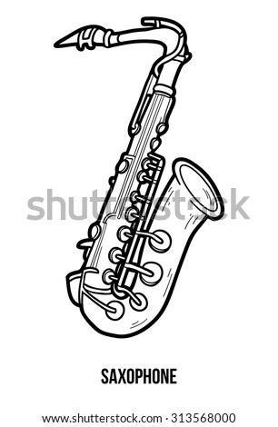 Coloring book for children: musical instruments (saxophone) - stock vector