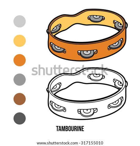 Coloring book for children: musical instruments (tambourine) - stock vector