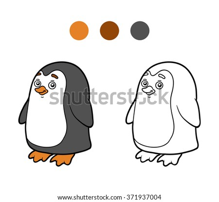 Coloring book for children (penguin)