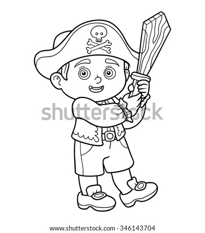 Coloring book for children: pirate boy